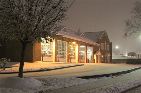 Forest City Fire Department Covered in Snow