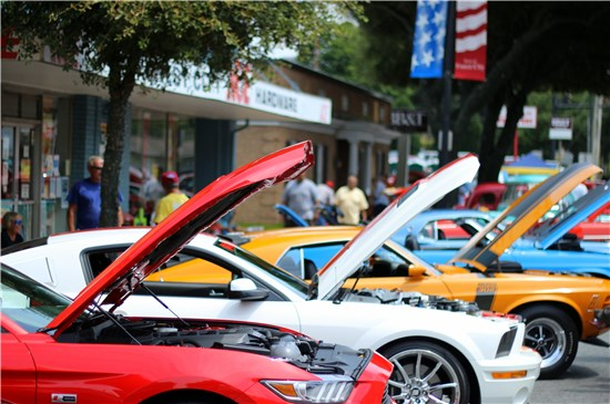 Image of Cars lined down main street for car show